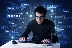 Hacker programing in technology enviroment with cyber icons and